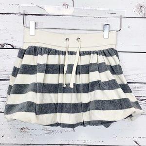 GAP KIDS | cream gray stripped velour skirt lined